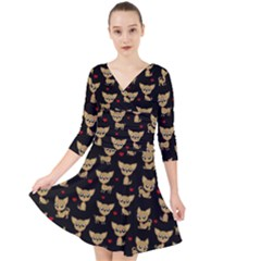 Chihuahua Pattern Quarter Sleeve Front Wrap Dress