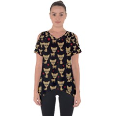 Chihuahua Pattern Cut Out Side Drop Tee