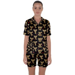 Chihuahua Pattern Satin Short Sleeve Pyjamas Set