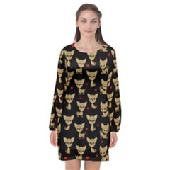 Chihuahua Pattern Long Sleeve Chiffon Shift Dress