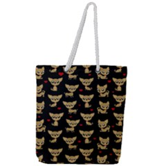 Chihuahua Pattern Full Print Rope Handle Tote (large)
