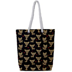 Chihuahua Pattern Full Print Rope Handle Tote (small)