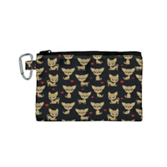 Chihuahua Pattern Canvas Cosmetic Bag (small)