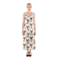 Chihuahua Pattern Sleeveless Maxi Dress