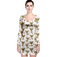 Chihuahua Pattern Long Sleeve Bodycon Dress