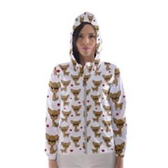 Chihuahua Pattern Hooded Wind Breaker (women)