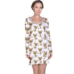 Chihuahua Pattern Long Sleeve Nightdress