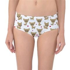 Chihuahua Pattern Mid Waist Bikini Bottoms