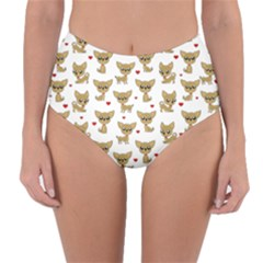 Chihuahua Pattern Reversible High Waist Bikini Bottoms