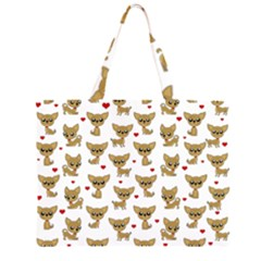 Chihuahua Pattern Zipper Large Tote Bag