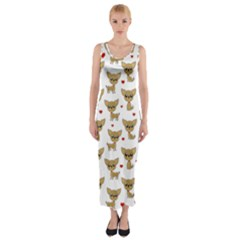 Chihuahua Pattern Fitted Maxi Dress