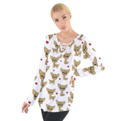 Chihuahua Pattern Tie Up Tee