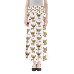 Chihuahua Pattern Full Length Maxi Skirt