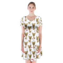 Chihuahua Pattern Short Sleeve V Neck Flare Dress