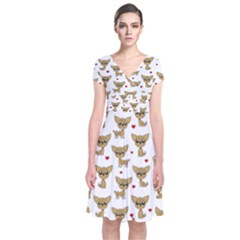 Chihuahua Pattern Short Sleeve Front Wrap Dress