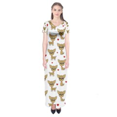 Chihuahua Pattern Short Sleeve Maxi Dress