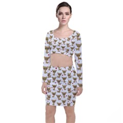 Chihuahua Pattern Long Sleeve Crop Top & Bodycon Skirt Set