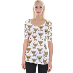 Chihuahua Pattern Wide Neckline Tee