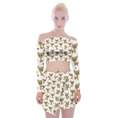 Chihuahua Pattern Off Shoulder Top With Mini Skirt Set