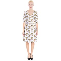 Chihuahua Pattern Wrap Up Cocktail Dress