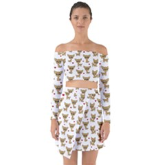 Chihuahua Pattern Off Shoulder Top With Skirt Set
