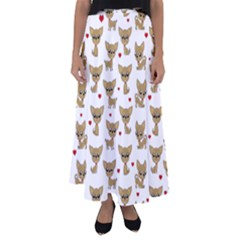 Chihuahua Pattern Flared Maxi Skirt