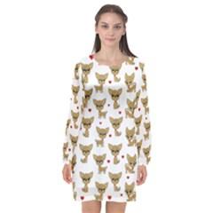 Chihuahua Pattern Long Sleeve Chiffon Shift Dress