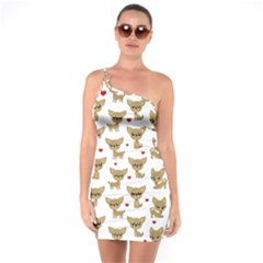 Chihuahua Pattern One Soulder Bodycon Dress