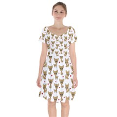 Chihuahua Pattern Short Sleeve Bardot Dress