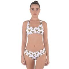 Chihuahua Pattern Criss Cross Bikini Set