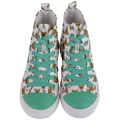 Chihuahua Pattern Women s Mid Top Canvas Sneakers