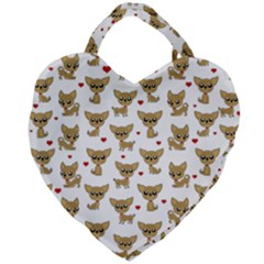 Chihuahua Pattern Giant Heart Shaped Tote