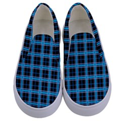 Deep Sea Tartan Kids  Canvas Slip Ons