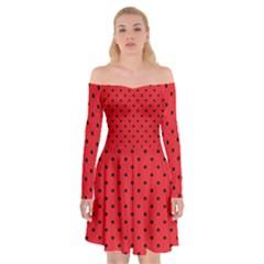 Ladybug Off Shoulder Skater Dress
