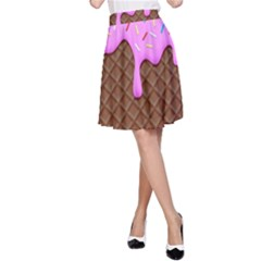 Chocolate And Strawberry Icecream A Line Skirt