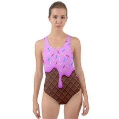 Chocolate And Strawberry Icecream Cut Out Back One Piece Swimsuit