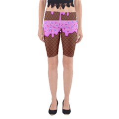 Chocolate And Strawberry Icecream Yoga Cropped Leggings