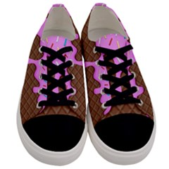 Chocolate And Strawberry Icecream Men s Low Top Canvas Sneakers