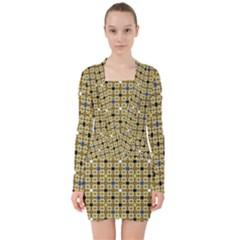 Persian Blocks Desert V Neck Bodycon Long Sleeve Dress