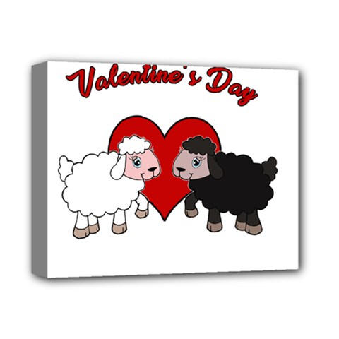 Valentines Day   Sheep  Deluxe Canvas 14  X 11