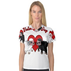 Valentines Day   Sheep  V Neck Sport Mesh Tee
