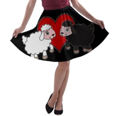 Valentines Day   Sheep  A Line Skater Skirt