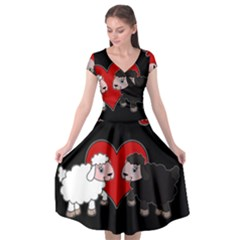 Valentines Day   Sheep  Cap Sleeve Wrap Front Dress