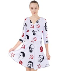 Communist Leaders Quarter Sleeve Front Wrap Dress