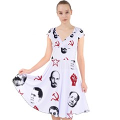 Communist Leaders Cap Sleeve Front Wrap Midi Dress
