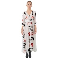 Communist Leaders Button Up Boho Maxi Dress