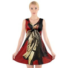 Lenin  V Neck Sleeveless Skater Dress