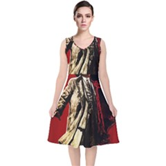 Lenin  V Neck Midi Sleeveless Dress