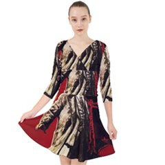 Lenin  Quarter Sleeve Front Wrap Dress