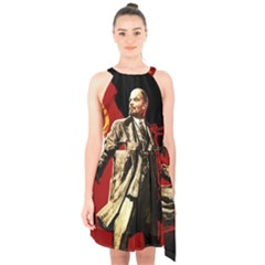 Lenin  Halter Collar Waist Tie Chiffon Dress